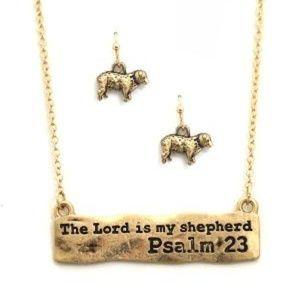 "Psalm23 "" The Lord is my shepherd  necklace  earr"